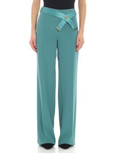 Elisabetta Franchi - Green palazzo trousers with tailored pleat