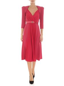 Elisabetta Franchi - Raspberry-colored dress with pleated detail