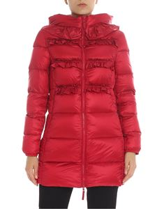 Twin-Set - Red down jacket with ruffles