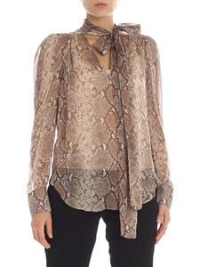 Twin-Set - Blusa in seta beige stampa rettile