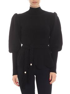 Elisabetta Franchi - Black ribbed pullover with puffed sleeve