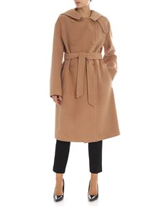 Twin-Set - Unlined double-breasted camel colored coat