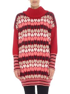 Twin-Set - Red turtleneck with heart pattern