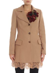 Twin-Set - Camel colored coat with lace detail