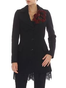 Twin-Set - Black coat with lace detail