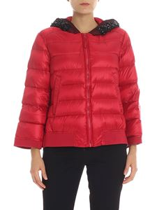 Twin-Set - Red down jacket with beads