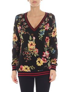 Twin-Set - Black floral printed pullover