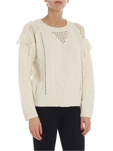 Twin-Set - Ivory color knitted tricot-effect ivory pullover