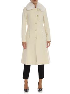 Twin-Set - Cream color coat with fox fur collar