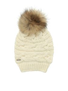 Woolrich - Ribbed cream-colored beanie with pom pom