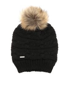 Woolrich - Ribbed black beanie with pon pon