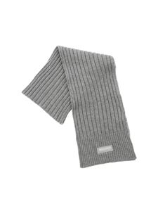 Woolrich - Ribbed gray scarf with logo