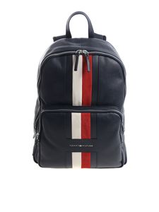 Tommy Hilfiger - Blue leather backpack with logo