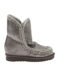 """Mou - Silver """"Eskimo Inner Wedge"""" ankle boots"""