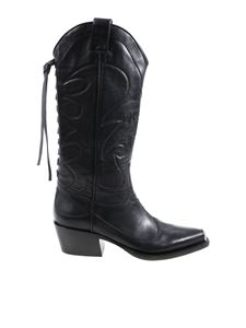 HTC - Black Texan boots with embroidery