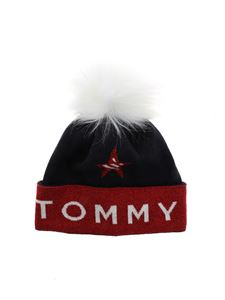 Tommy Jeans - Blue and red beanie with logo