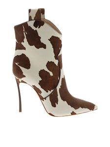 Casadei - White and brown calf hair Blade ankle boots