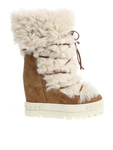 Casadei - Brown boots with sheepskin fur