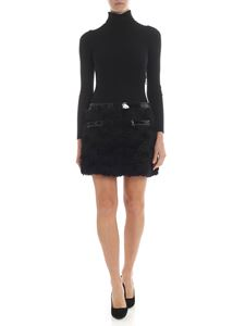 Moschino - Black dress with eco-fur insert