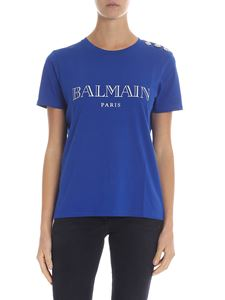Balmain - Electric blue t-shirt with logo and buttons