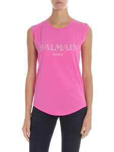 Balmain - Pink top with iridescent logo print