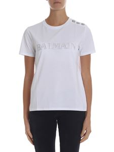 Balmain - White t-shirt with logo and buttons