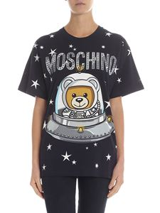 "Moschino - Blue overfit t-shirt with ""Ufo Teddy"" print"