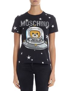 "Moschino - Blue crewneck t-shirt with ""Ufo Teddy"" print"