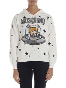 "Moschino - White hoodie with ""Ufo Teddy"" print"
