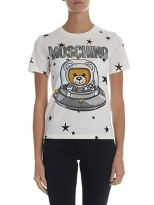 "Moschino - White crewneck T-shirt with ""Ufo Teddy"" print"