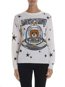 "Moschino - ""Ufo Teddy"" inlay white pullover"