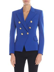 Balmain - Electric blue jacket with golden buttons