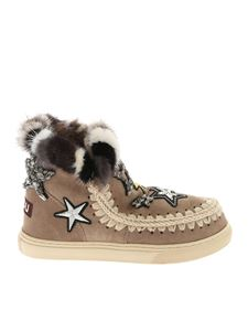 """Mou - """"Eskimo Star Patches"""" dove grey sneakers"""