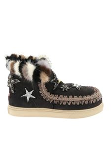 """Mou - """"Eskimo Star Patches"""" anthracite sneakers"""