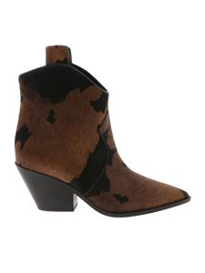 Casadei - Black and brown calf hair Texan ankle boots
