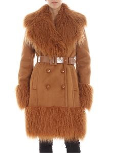 Elisabetta Franchi - Brown double-breasted shearling coat