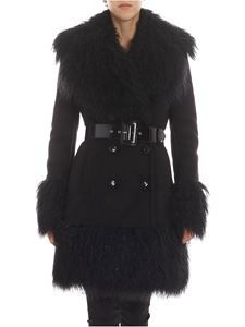 Elisabetta Franchi - Black double-breasted shearling coat
