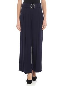 Tara Jarmon - Blue palazzo trousers with buckle
