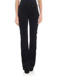 7 For All Mankind - Pantalone a zampa in velluto nero