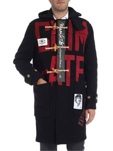 Vivienne Westwood Anglomania - Black duffle coat with lettering print