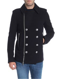 Balmain - Blue wool caban coat