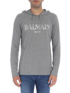Balmain - Grey melange t-shirt with logo