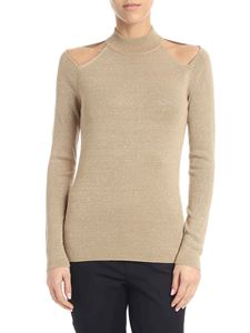 Michael Kors - Beige lamé pullover with cut-out