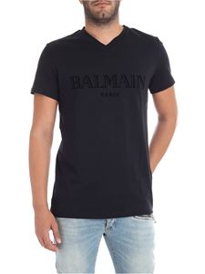 Balmain - Black V-neck t-shirt with logo print