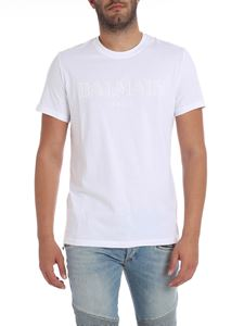 Balmain - White t-shirt with white logo print