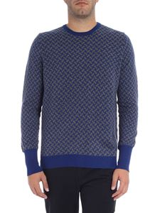 Drumohr - Blue geometric sweater with grey pattern