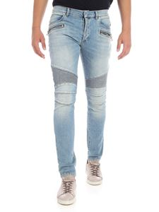 Balmain - Light blue biker jeans