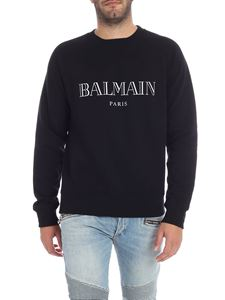 Balmain - Black sweatshirt with reflective grey logo print