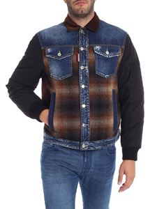 Dsquared2 - Down jacket with denim and wool inserts