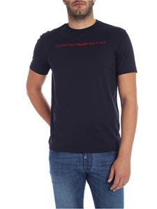 Emporio Armani - Blue t-shirt with red logo embroidery